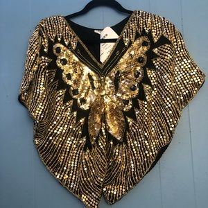 Shimmer Vintage Sequin Butterfly Top